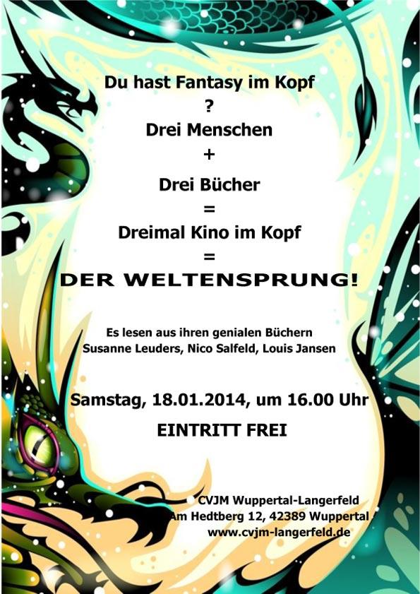 Plakat für Lesung am 18.01.2014