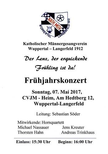 Plakat Männergesangverien Langerfeld 07.05.2017